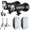 Godox SK400II 2-Light Studio Flash Kit With Trigger ,Softbox and Light Stands 110v