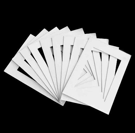 Pack of 10 sets of 6x8 White Mat Matte Board for 4x6 Photo