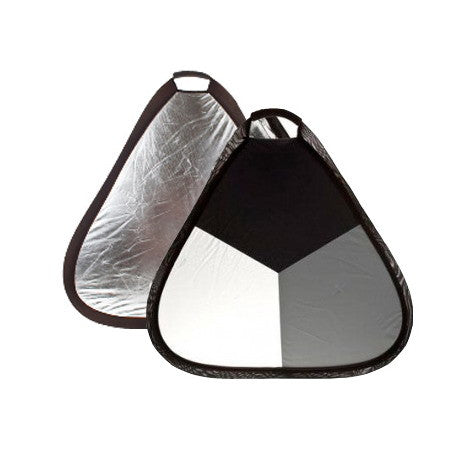 Triangular Collapsible White Balance Reflector,Black/Grey/Silver