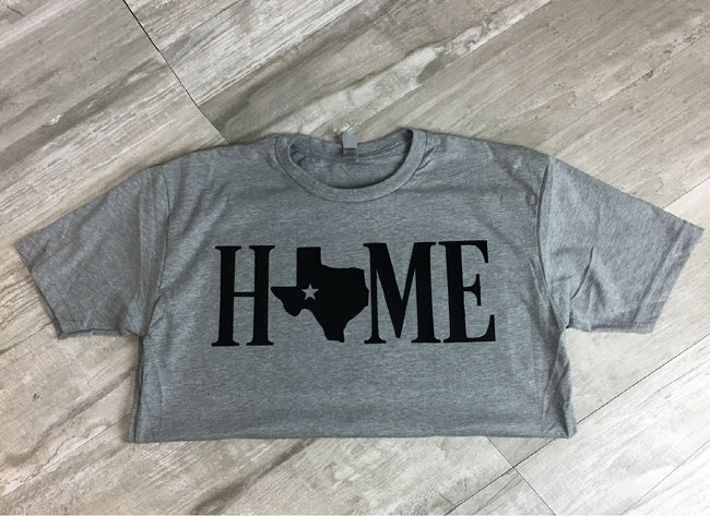 Texas Home Lone Star on Heather Grey Short Sleeve