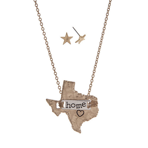 Texas Home State Necklace with Star Earrings in Gold