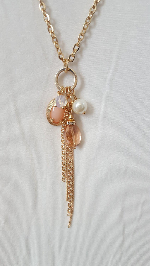 Gold Tone Necklace with Chain Tassel - Southern Grace Outfitters