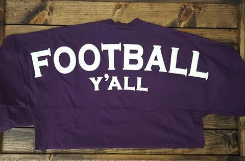 Football Y'all Spirit Jersey in Deep Purple - Southern Grace Outfitters