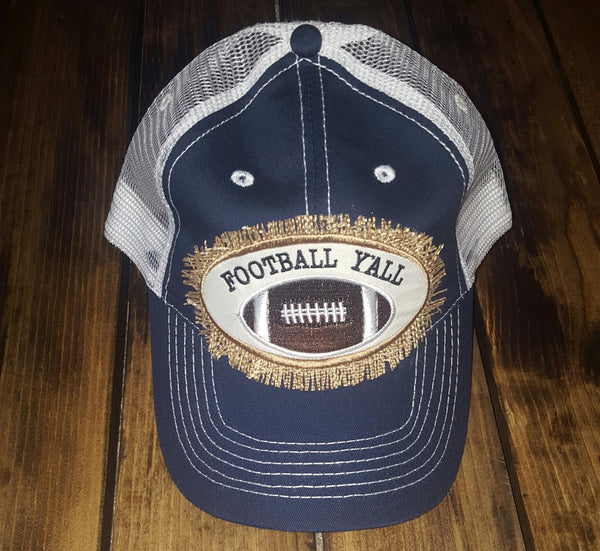 Football Ya'll Burlap Patch Trucker Hat - Navy - Southern Grace Outfitters