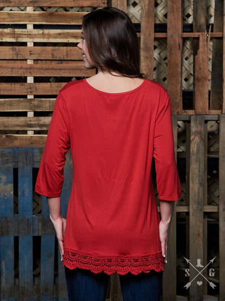 Red Solid 3/4 Sleeve Shirt with Crochet Lace