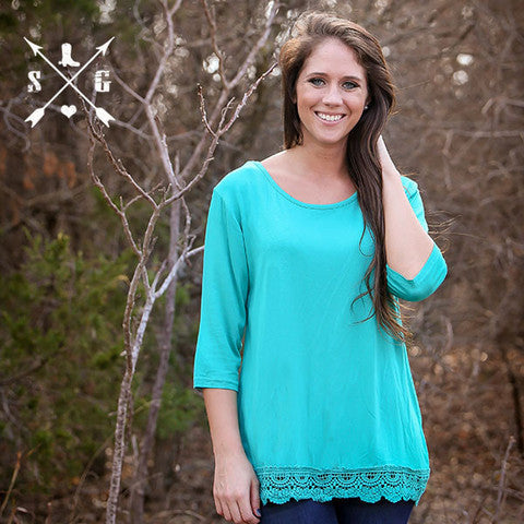Turquoise 3/4 Sleeve Raglan Shirt with Crochet Lace