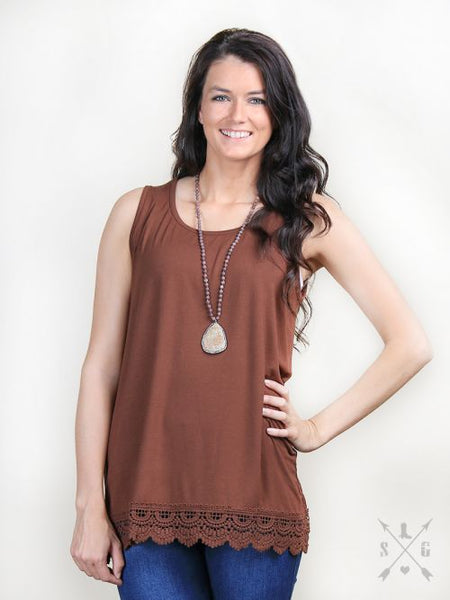 95cd3f62b Solid Tank With Lace Trim in Brown – Southern Grace Outfitters