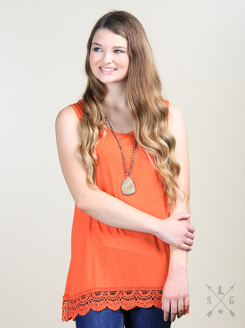 Solid Tank With Lace Trim in Orange