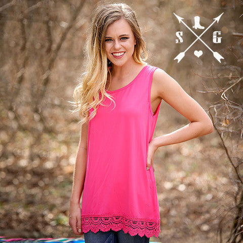 Solid Tank With Lace Trim in Pink