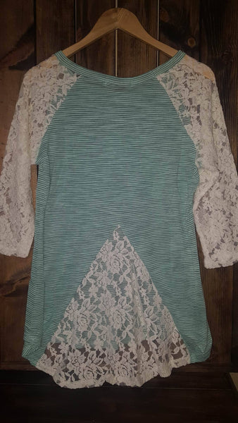 The Simple Stripe Knit in Mint with Lace Back Accent & Sleeves