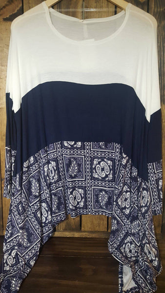 Colorblock Print Asymmetrical Top (MORE COLORS)