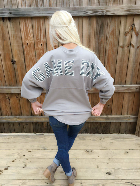 Game Day in Light Gray with Seersucker Print