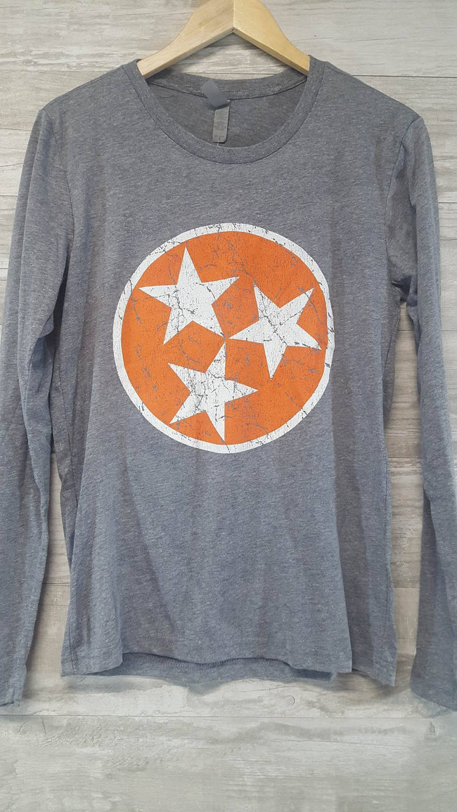 Tri Star on Prem Heather Grey Long Sleeve
