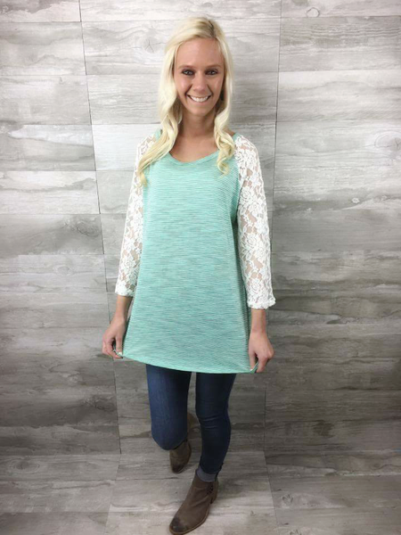 Fearfully, Wonderfully Made on Blue Tie Dye with White Lace Sleeve Accent