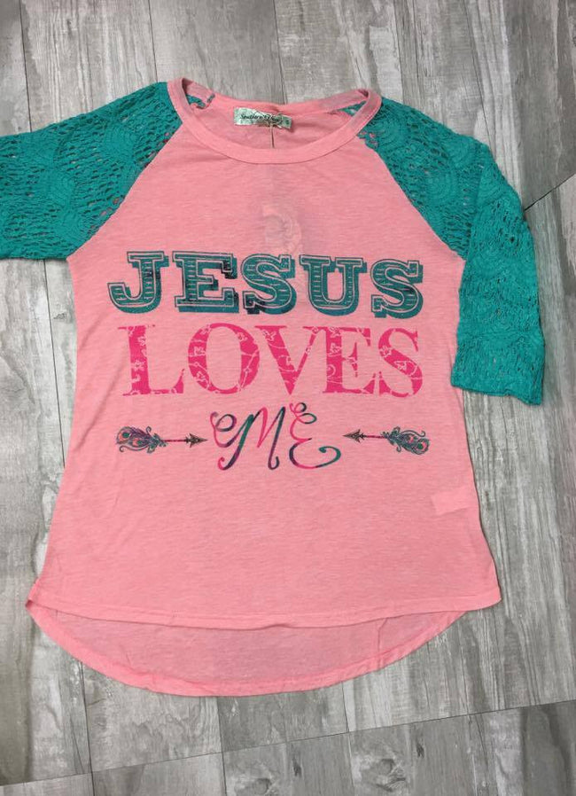 Jesus Loves Me on Light Pink With Full Turquoise Lace Sleeves