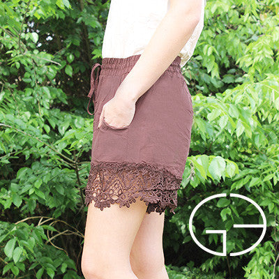 Brown Shorts with Lace Trim - Southern Grace Outfitters