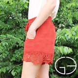 Copper Shorts with Lace Trim - Southern Grace Outfitters