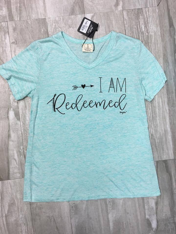 I am Redeemed on Mint V-Neck Tee