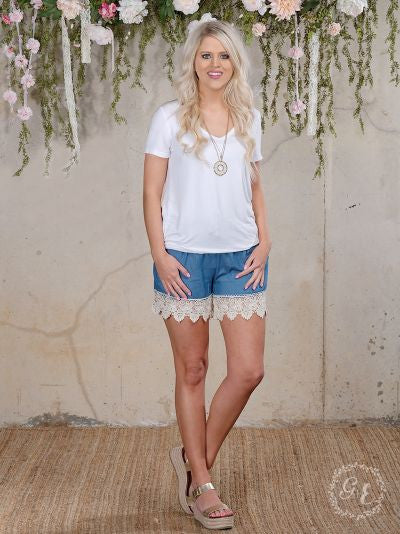 Sundaze Shorts Blue with Cream Crochet Trim