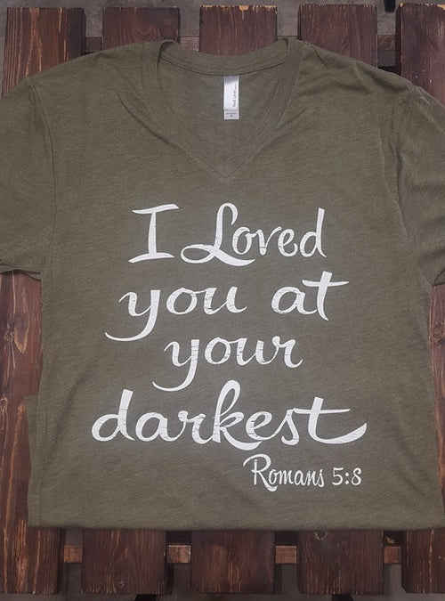 At Your Darkest on Military Green SS V-Neck Tee