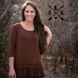 Lyla's Brown Solid Raglan Shirt with Tassle Lace