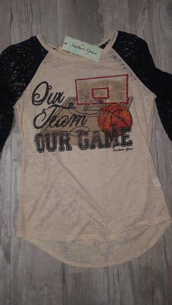 Our Team Our Game Basketball Beige Burnout With Black Lace Sleeves