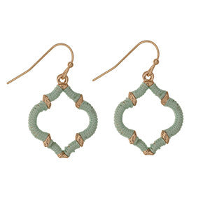 Gold Quatrefoil Earrings Wrapped in Mint - Southern Grace Outfitters