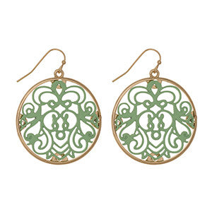 Gold Earrings with Mint Filigree Design - Southern Grace Outfitters