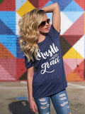 Hustle with Grace on Navy Heather Tee