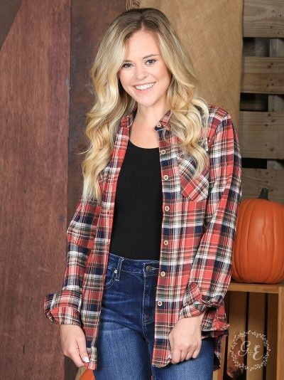 The Holiday Flannel in Red, Navy & Green Plaid