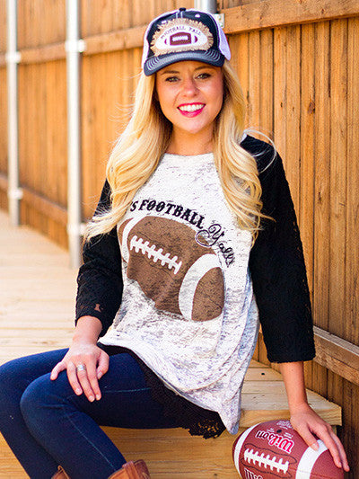 It's Football Y'all! On White Raglan