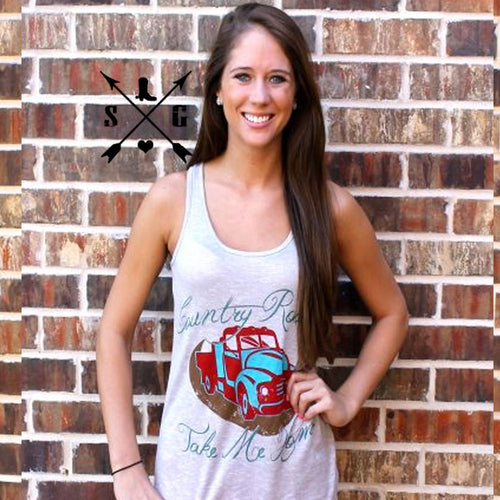 Country Roads Take Me Home Bella Tank - Southern Grace Outfitters