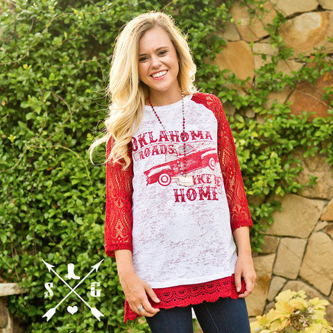Oklahoma Roads Take Me Home Raglan