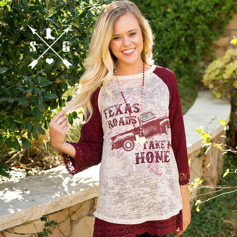 Texas Roads Take Me Home Lace Sleeves
