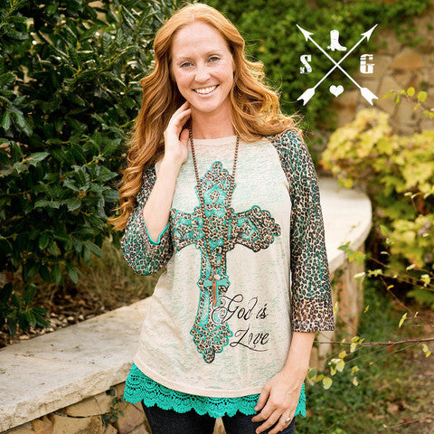 God Is Love Leopard Sleeve Raglan - Southern Grace Outfitters