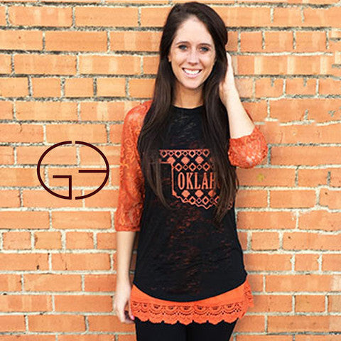 Oklahoma Pride Black Burnout and Orange Lace Sleeves