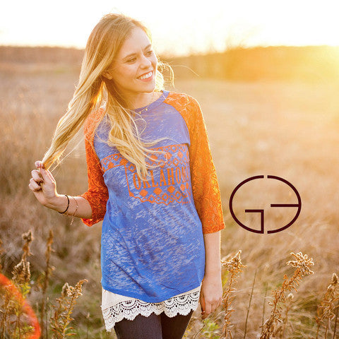 Oklahoma Pride Blue Burnout and Orange Lace Sleeves