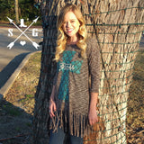 Faith Cross On Long Grey Fringe Shirt - Southern Grace Outfitters