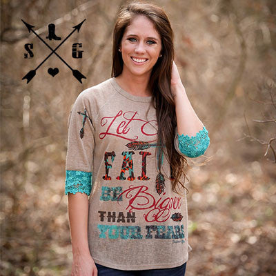 Let Your Faith on 3/4 Sleeve Brown Shirt with Cross on Shoulders