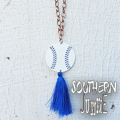 Blue Baseball & Tassel Necklace - Southern Grace Outfitters