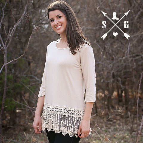 Lyla's Beige Solid Raglan Shirt with Tassle Lace