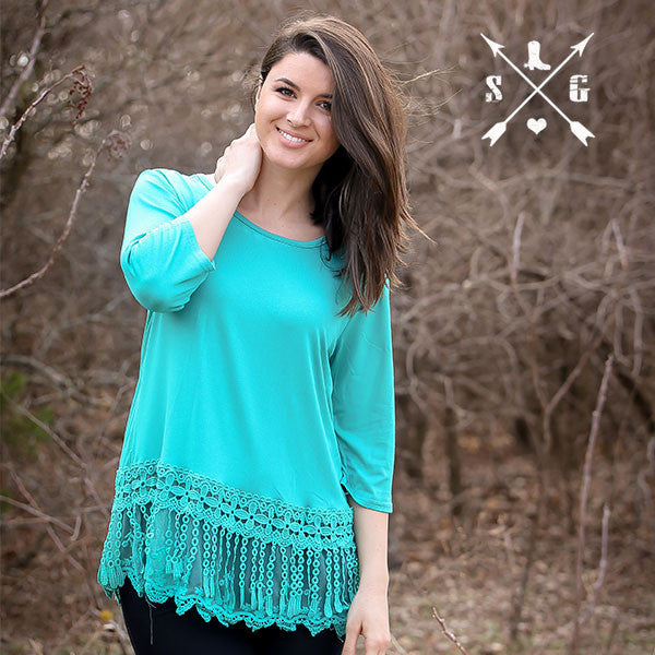 Lyla's Turquoise Solid Raglan Shirt with Tassle Lace