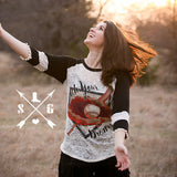 Catch Your Dreams on Burnout with Black 3/4 Sleeves and Pom Trim - Southern Grace Outfitters