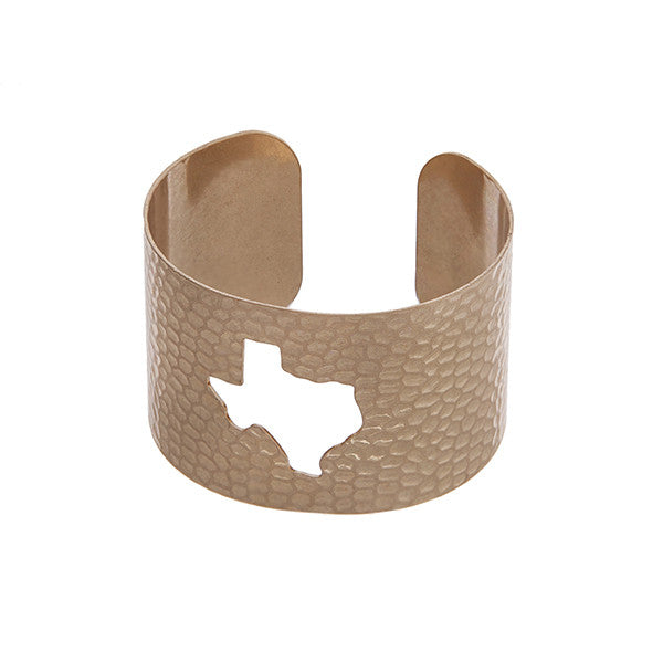Texas State Cuff Bracelet in Gold