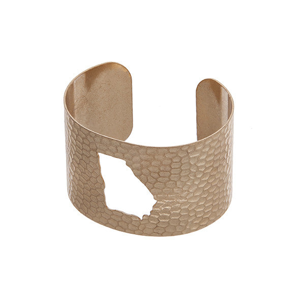 Georgia State Cuff Bracelet in Gold - Southern Grace Outfitters