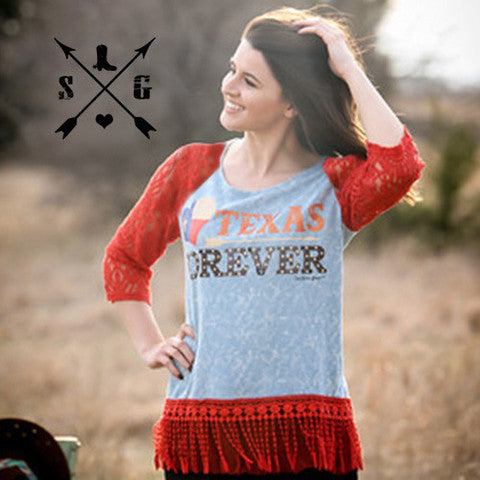 Texas Forever on Blue Heather with Red Lace Sleeves & Tassel Trim