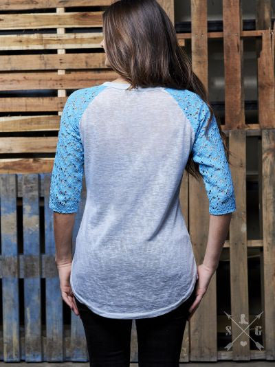 He is Risen on Grey Raglan with Blue Lace Sleeves