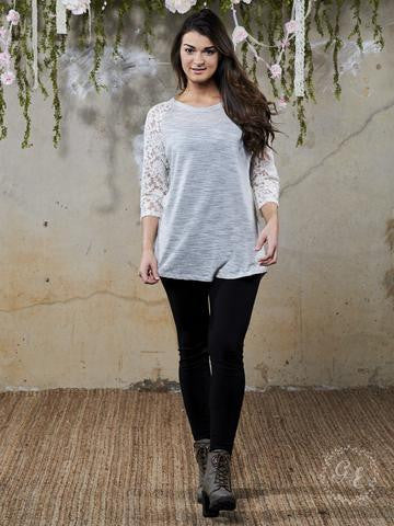 The Simple Stripe Knit in Light Beige with Lace Back Accent & Sleeves