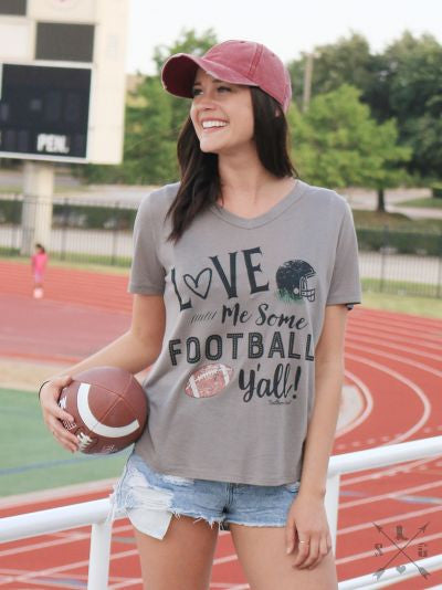 Love Me Some Football Y'all on Grey Short Sleeve V-Neck