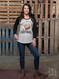 Let's Play Football on Striped Baseball Tee with Black Sleeves